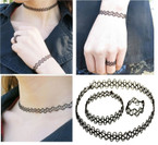 Trendy Nylon Tattoo Choker Set 3 pc set All Black .54 ea set