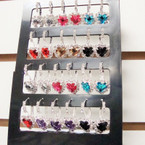 Silver Euro Wire Earrings Display Colored Hearts w/ Crystal Stones .54 ea pr