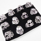 Heavy Cast Metal Assorted Skull Rings 12 per tray .54 ea