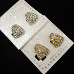 Petite Gold & Silver Crystal Stone CLIP ON Earrings .54 per pair