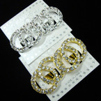 Gold & Silver Crystal Stone CLIP ON Earrings DBL Circle  .54 per pair
