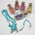 "30"" Mini Bead Asst Color Rosary in 2.75"" Bottle .54 ea"