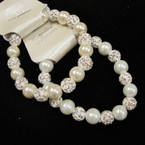 White & Ivory Glass Pearl Stretch Bracelet w/ Fireball Crystal Bead  .54 ea