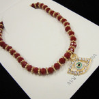 Red & Gold Bead Stretch Bracelet w/ Crystal Eye Charm  .54 ea