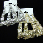 "3"" Gold & Silver Bamboo Style Square Pincatch Earrings .54 per pair"