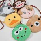 "4"" Mixed Style Velveteen Animal Coin Purse w/ Cord Necklace .56 ea"