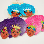 "2.5"" Wood Fashion Lady Earring w/ Afro & Crown .54 ea"