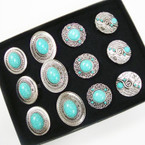 SIlver w/ Turquoise Stone Fashion Rings 4 Styles Mixed .54 ea