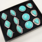 Silver w/ Turquoise Stone Fashion Ring 4 Styles Mixed .54 ea