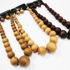 "18"" Chunky Wood Beaded Fashion Necklace Set .58 ea set"