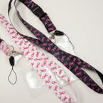 "36"" Pink Ribbon Lanyards w/ ID Tag 12 per pk  .56 ea"
