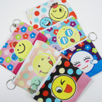 "4.75"" Mixed Style Emoji Print Zipper Coin Purses w/ Key Chain .54 ea"