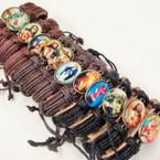 Teen Leather Bracelet w/ Oval Picture Jesus & Mary .54 eat w/ Oval Picture Jesus & Mary .54 ea
