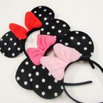 Popular Poka Dot Mouse Ear Headbands w/ Bow 12 per pk .54 ea