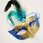 Handcrafted Asst Color Party Masks w/ Feathers .56 ea