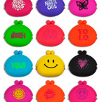 "Bright Neon Color 4"" Silicone Snap Closure Coin Purses  12 per unit .65 ea"
