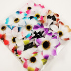 "4"" DBL Colorful Silk Flower Summer Jaw Clip Bows .54 ea"