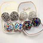 18MM Big Crystal Stone Fireball Earrings .56 per pair
