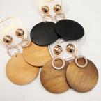 Fashionable Wood Disc & Circle Ring Earrings .54 per pair