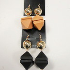 Fashionable Wood & Gold Ball Earrings 2 colors .54 per pair