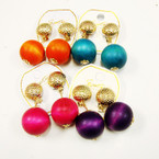 Gold Button CLIP ON Earring w/ Wood Ball .54 ea pair