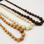 """24"""" Natural Wood Tone Beaded Necklace .58 each"""