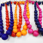 "16"" Chunky Wood Beaded Fashion Necklace Set Asst Brights .58 ea set"