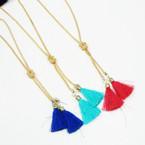 """32"""" Gold Chain Fashion Necklace w/ DBL Dangle Tassel .58 ea"""