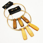 Fashionable Gold Choker Set w/ Wood Paddles .58 ea set