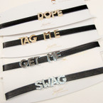 Black Leather Look Choker w/ Mix Block Sayings .56 ea