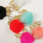 "3"" Faux Fur  Key Chain w/ Purse Clip Has Gold Glitter Bunny Ears .58 ea"