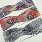 "2.75"" Fashionable Knotted Headwaps Paisley Tye Dye Design  .54 each"