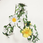 DBL White & Yellow Flower Wire Halo .56 ea