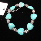 Heart Turquoise Stone Stretch Bracelet w/ Crystal Stones .54 ea