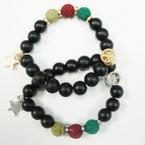 NEW  8MM Glass & Lava Rock Bead Bracelet w/ Star & Peace Sign .60 ea