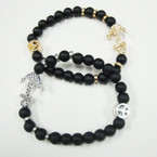 NEW  5MM Black Glass Bead Bracelet w/ Peace Sign & Anchor .54 ea