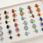 Best  Value 36 Mixed Colored Stone Gold & Fashion Fashion Rings .25 each