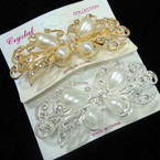 "4"" Cast Gold & Silver Crystal Stone & Pearl Fashion Barrettes .54 ea"