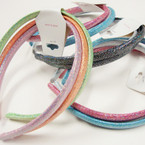 3 Pack Mixed Color Metallic Headbands  12-3 pks for $ 6.50