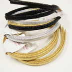 3 Pack Gold,SIlver,Blk  Color Metallic Headbands  12-3 pks for $ 6.50