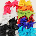 "5"" Asst Color Gator Clip Bows w/ AB Mini Stones .54 each"