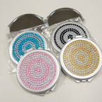 "2.5"" Round Acrylic Stone DBL Mirror Compact Asst Colors .54 each"