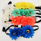 Fashionable Asst Color Flower Headbands .54 each