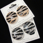 """Elegant 1"""" Round SIlver & Gold Blk Epoxy Crystal Stone CLIP  Earrings .54 ea pair"""