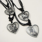 "16"" Adj.  DBL Blk Leather Cord Necklace w/ Heart  Zodiac Signs  .54 ea"