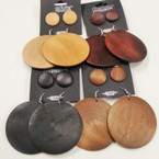 Wood Fashion Earrings plus Bonus Button Earring Natural Colors  .54 per set