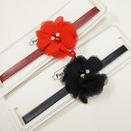 Trendy Leather Look Choker Necklace w/ Red & Blk Flower  .54 ea