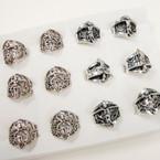 Cast Silver Ring w/ Jesus  12 per bx 2 styles .56 each