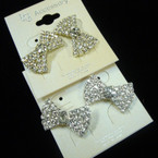 "Elegant 1"" Crystal Stone Bow Style Earrings .54 each"