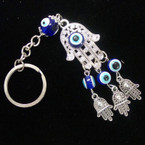 Cast Silver Metal Hamsa Keychain w/ Blue Eye Beads .56 ea